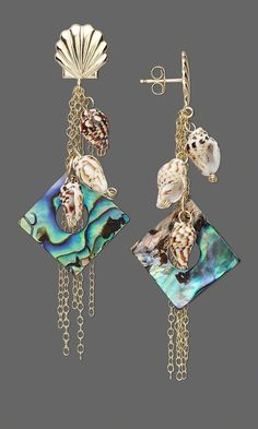 Jewelry Design - Earrings with Paua Shell Diamonds, Nasa Shell Beads and Gold-Filled Chain - Fire Mountain Gems and Beads Jewelry Design Earrings, Shell Jewelry, Bead Earrings, Designer Earrings, Jewelry Art, Chain Jewelry, Shell Schmuck, Paua Shell, Nautical Jewelry