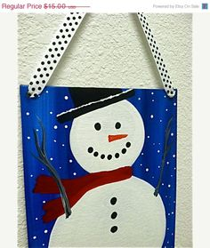 Save 15 Now Snowman with Red Scarf Hanging Canvas by ArtSortof, $12.75