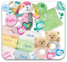 All these great products come with a FREE JollyPop. Choose from personalized clips, bibs and more!