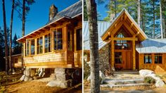 This refined yet rustic lakeside camp seamlessly blends into its wooded surroundings and provides year-round living. Our highly site-specific solution… Bridgton Maine, Lakeside Camping, Converted Barn, Timber Buildings, Cabin Design, Cabins In The Woods, House Plans, Architects, Rustic