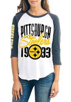 3b94dfa55 Junk Food Clothing Pittsburgh Steelers Womens White All-American Long Sleeve  Crew T-Shirt - 11200143