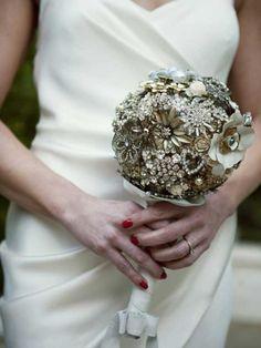 Renee's brooch bouquet. Monochromatic. Classy.
