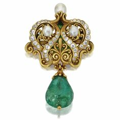 Gold, Emerald, Diamond, and Pearl Brooch, 1900, Marcus & Co.