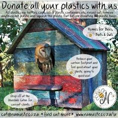 Donate your plastic with us or become your own collection point for a once off R200. They collect. You get to feel good with very little effort WIN-WIN-WIN Help be a part of the solution #Recycle #Repurpose #Reuse #RecylePlastic #OwlSanctuary #WinWinWin #NamasteSR #Owls #Bees #Bats #MotherNature  Find out more www.namaste.co.za/sr Owl Sanctuary, Recyle, No Plastic, Bats, Namaste, Effort, Repurposed, Recycling, Feelings