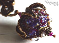 "Ready to ship Brooch ""Berry for peacock"" Lampwork bead and bronze Feather Glass by AnnaBronze on Etsy"