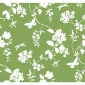 Silhouettes Trailing Floral and Vines Emerald Wallpaper AP7427