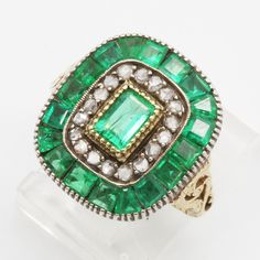 Antique Edwardian Ring Emeralds Diamonds 14k Chased Gold & Silver (#6117) | Jewelry & Watches, Vintage & Antique Jewelry, Fine | eBay!