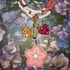 Strawberry Island Girl Necklace Wooden charms, resin, small glass beads Jewelry Necklaces