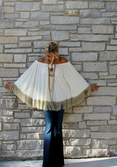 off-the-shoulder fringe poncho  Yeah! YES I will take it!