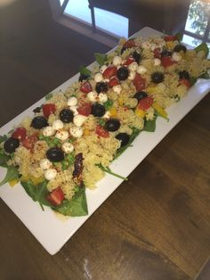Pasta Salad Platter. Always use a white dish when possible.  It makes everything look more appetizing.