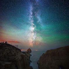 The Milky Way gliding over Cape Kiwanda, Oregon. Photo by: @shainblumphotography Explore. Share. Inspire: #earthfocus #followback #instafollow #beautiful