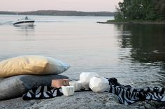 Magical and light nordic summernights. Pillows from How Are You, leather basket from Skandinavious by Louise Vilmar, ceramic lightholders from EmelieMagdalena and Camilla Brøyn, blanket from Lina Johansson. Nordic Design, Scandinavian Design, Cool Pictures, Cool Photos, Prop Styling, Archipelago, Floor Pillows, Interior Inspiration, Outdoor Living