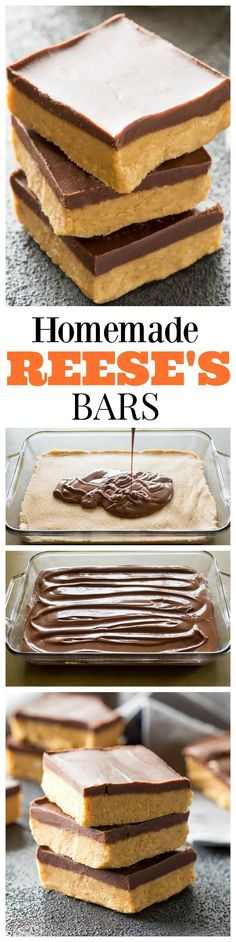 Homemade Reese's Bars - so easy you can make them at home! So good! #peanutbutter #dessert the-girl-who-ate-everything.com