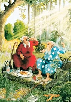Inge Look Postkaarten 65 nuala art Old Lady Humor, Old Folks, Whimsical Art, Old Women, Love Art, Monet, Illustrators, Photo Art, Art Drawings