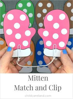 Mitten match and clip for color recognition and fine motor development.