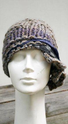 retro cloche knit hat beige lavender grey felt unique winter
