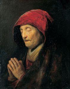 Bust of an Old Woman at Prayer ('stilus gravis'), Rembrandt Harmenszoon van Rijn (c. 1630). Residenzgalerie, Salzburg.