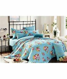 Le Reve Blue Cotton Floral Double Bedsheet With 2 Pillow Cover