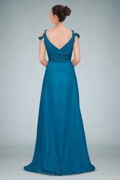 Demure V-neck Chiffon Evening Dress Highlighted with Delicate Ruches
