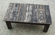 table - made from reclaimed wood.