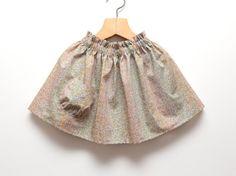 Girls pastel flower meadow summer skirt from Liberty art Cotton by ZanziBach