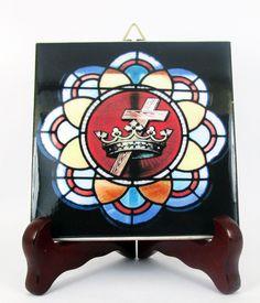 #Masonic Ceramic Tile #Cross and #Crown #Mason #Freemasonry #Masons #Templar Mod.1