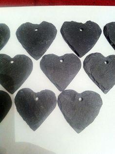 10 Slate Heart Wedding Favours Hanging Name Label Place Plant Marker 4cm