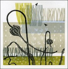 A walk in the park - linocut - Janet Dickson