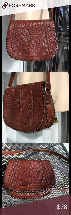 LL genuine hand tooled leather bag Intake,good condition for it's age,some marks on,very thick leather leaders in leather Bags