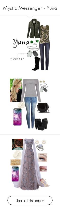 """""""Mystic Messenger - Yuna"""" by arya-lynn ❤ liked on Polyvore featuring art, New Look, Blowfish, Carolee, Rebecca Minkoff, Casetify, Accessorize, Dolce&Gabbana, Charlotte Olympia and men's fashion"""