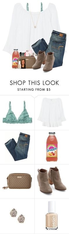 """""""I got a hair cut ♀️"""" by amberfmillard-1 ❤ liked on Polyvore featuring Monki, Velvet, American Eagle Outfitters, MICHAEL Michael Kors, Chelsea Crew, Kendra Scott, Essie and Adina Reyter #americaneagleoutfitters"""