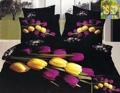 Czarna pościel bawełniana w żółto różowe tulipany