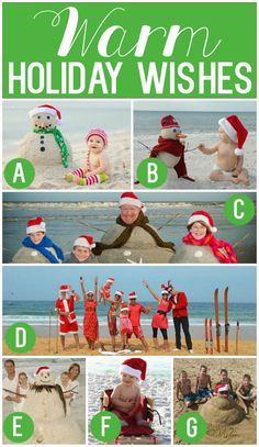 Warm Holiday Wishes Christmas Photo Card Ideas - Perfect idea for a Florida beach vacation.