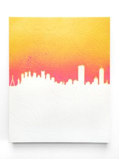One of a kind and original artwork of the Boston Skyline in sunset colors! Each piece is made to order and completely unique.  There will be variations in the gradation and the pattern of the paper, but each piece features a neutral white or off-white vintage wallpaper stenciled with my drawing of the architectural details of the Boston skyline in a hot pink/orange/yellow ombre paint application.  Now you can take a little piece of Boston with you wherever you go <3  Our Sunset B...