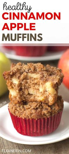 These whole wheat cinnamon apple muffins are made healthier with whole grains olive oil (or another oil of choice) and less sugar than a typical muffin! So moist and delicious. A great healthy muffin recipe! Autumn Muffin Recipes, Apple Dessert Recipes, Healthy Muffin Recipes, Apple Recipes, Healthy Baking, Baking Recipes, Snack Recipes, Fall Desserts, Healthy Desserts