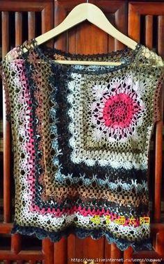 Entre um Fio e Outro: Blusa em Crochê~~Modified granny square top