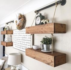 🙄👆🏼❤️ nailed another Shanty project! Way to go girl! For the free plans search Floating Shelves with Pipes on our site! Decor, Wood Crafts Diy, Boys Room Decor, Shelves, Inside Diy, Basement Inspiration, Home Decor, Diy Home Furniture, Industrial Farmhouse Decor