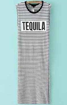 Vestido sin manga rayas TEQUILA -blanco y negro 17.78