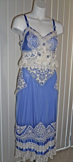 Upcycled stunning blue slip dress with vintage lace and doilies