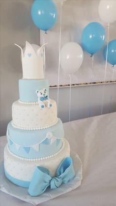 Four tier baptism cake Boy Baby Shower Themes, Baby Shower Cakes, Baby Boy Shower, Baby Birthday Cakes, Celebration Cakes, Christening, First Birthdays, Party, Desserts