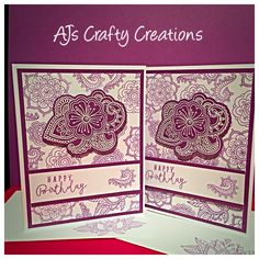 CTMH ornate blossoms, thin cuts, white embossing powder with pansy. Inspired by Courtney Lane Embossing Powder, Close To My Heart, Pansies, Blossoms, I Card, Happy Birthday, Stamp, Yoga, Crafty
