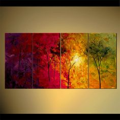 """Landscape Blooming Trees Painting Original Abstract Modern Acrylic by Osnat - MADE-TO-ORDER - 60""""x30"""""""