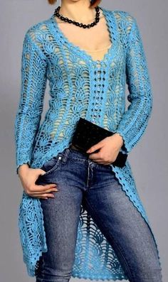 Crochet Shrug Pattern Free Jackets 48 New Ideas Gilet Crochet, Crochet Coat, Crochet Shirt, Crochet Jacket, Crochet Clothes, Crochet Edgings, Freeform Crochet, Crochet Dresses, Crochet Motif