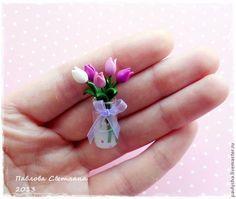 Миниатюрный букетик тюльпанов из полимерной глины. - Ярмарка Мастеров - ручная работа, handmade
