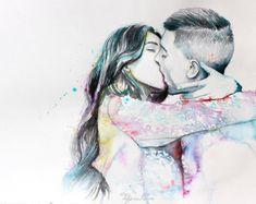 Couple portrait watercolor art print. Wall art by TatyanaIlieva