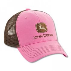 John Deere Pink/Chocolate Mesh Back Hat: Pink/Chocolate, structured cotton twill with mesh back panels John Deere Hats, Embroidered Caps, Pink Chocolate, Caps For Women, Caps Hats, Women's Hats, Pink Brown, Spring Summer Fashion, Cowboy Boots