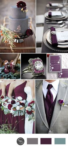rustic plum purple and grey wedding color ideas