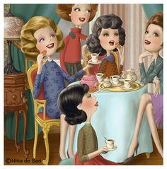 Girl's Tea Party, illustration by Nina de San