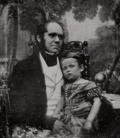 Charles Darwin with his son William, 1842.