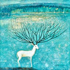 Land of Idyllic Beauty oil on canvas 2015 (C) Shijun Munns Spiritual Animal, Blue Art, Tree Of Life, Oil On Canvas, Deer, Moose Art, Art Gallery, Landscape, Blessing